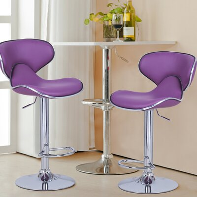 Low Back Adjustable Height Swivel Bar Stool Upholstery: Purple