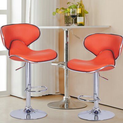 Low Back Adjustable Height Swivel Bar Stool Upholstery: Orange