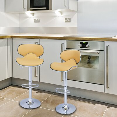 Low Back Adjustable Height Swivel Bar Stool Upholstery: Yellow