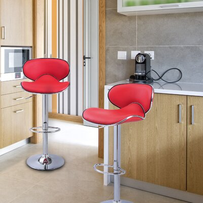 Low Back Adjustable Height Swivel Bar Stool Upholstery: Red