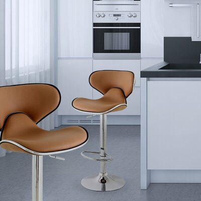 Low Back Adjustable Height Swivel Bar Stool Upholstery: Coffee