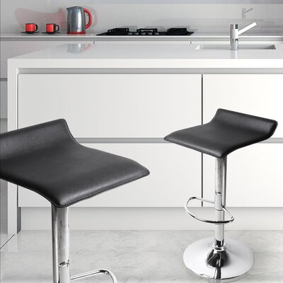 Decker Adjustable Height Swivel Bar Stool Finish: Black, Upholstery: Black