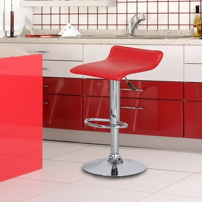 Decker Adjustable Height Swivel Bar Stool Finish: Chrome, Upholstery: Red