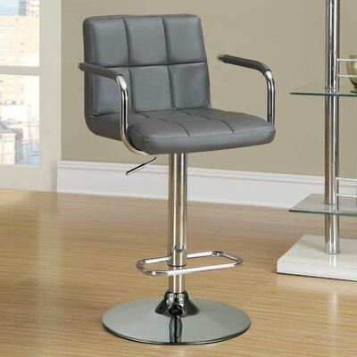 Dawson Adjustable Height Bar Stool Upholstery: Grey