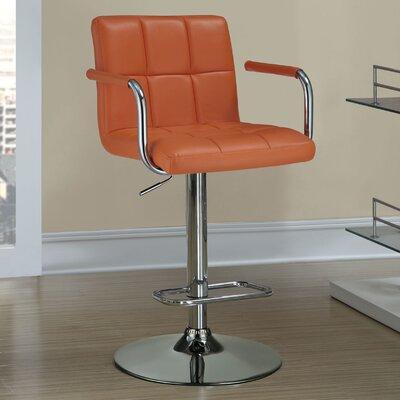 Dawson Adjustable Height Bar Stool Upholstery: Orange