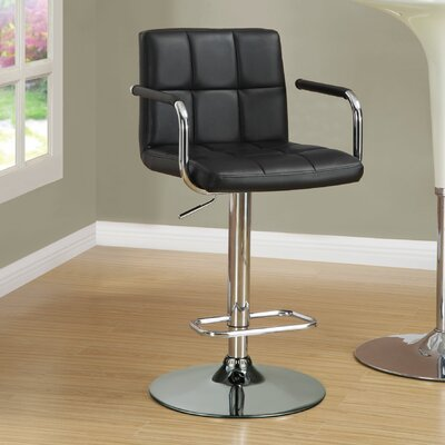 Dawson Adjustable Height Bar Stool Upholstery: Black