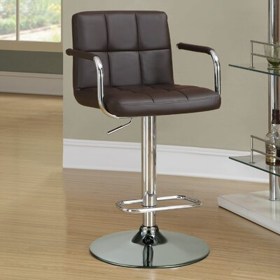 Dawson Adjustable Height Bar Stool Upholstery: Brown