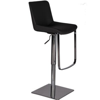 Robin Adjustable Height Swivel Bar Stool Upholstery: Black
