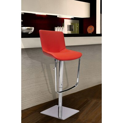 Robin Adjustable Height Swivel Bar Stool Upholstery: Red