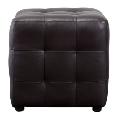 Aidan Bonded Leather Tufted Cube Accent Ottoman Upholstery: Mocha