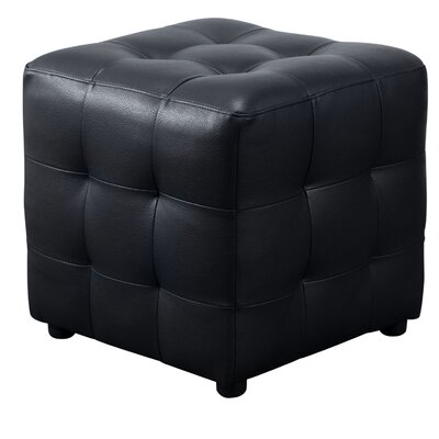 Aidan Bonded Leather Tufted Cube Accent Ottoman Upholstery: Black