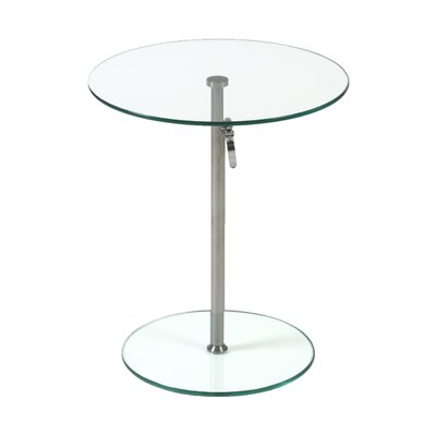 Wilbert Round Glass Side Table Finish: Clear