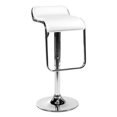 Kinton Adjustable Height Swivel Bar Stool Upholstery: White