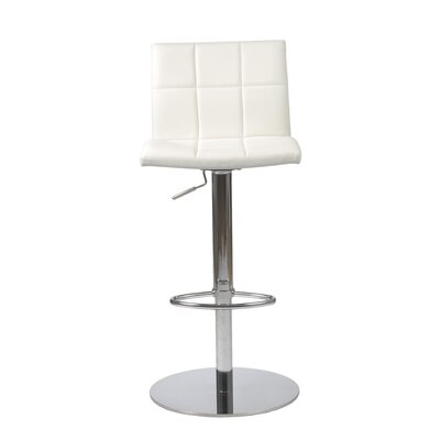 Amicus Adjustable Height Swivel Bar Stool Upholstery: White