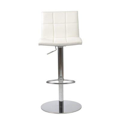 Amicus Adjustable Height Swivel Bar Stool Upholstery: White