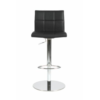 Amicus Adjustable Height Swivel Bar Stool Upholstery: Black