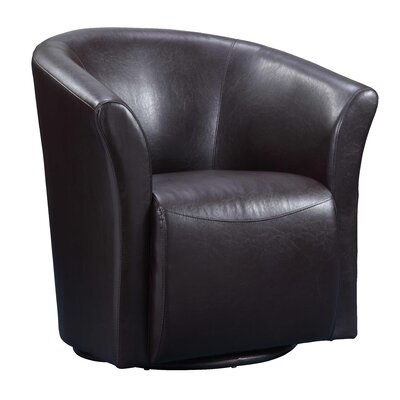 Elisha Swivel Barrel Chair Upholstery: Brown
