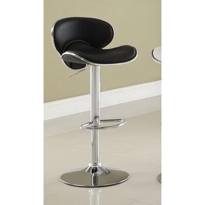 Reynard Adjustable Height Swivel Bar Stool Upholstery: Black