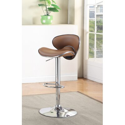 Reynard Adjustable Height Swivel Bar Stool Upholstery: Camel