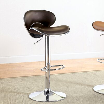 Reynard Adjustable Height Swivel Bar Stool Upholstery: Dark Brown
