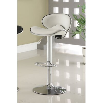Reynard Adjustable Height Swivel Bar Stool Upholstery: White