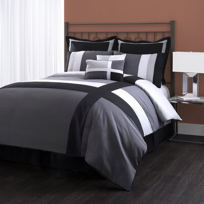 Andrade 8 Piece Comforter Set Size: King, Color: Gray / Black