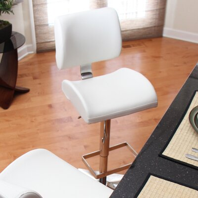Arellano Adjustable Height Swivel Bar Stool Upholstery: White