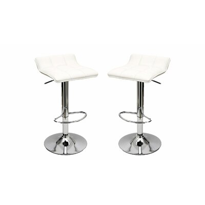 Cross Adjustable Height Swivel Bar Stool Upholstery: White