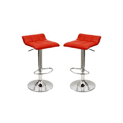 Cross Adjustable Height Swivel Bar Stool with Cushion Upholstery: Red