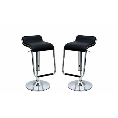 Crosby Adjustable Height Swivel Bar Stool with Cushion Upholstery: Black