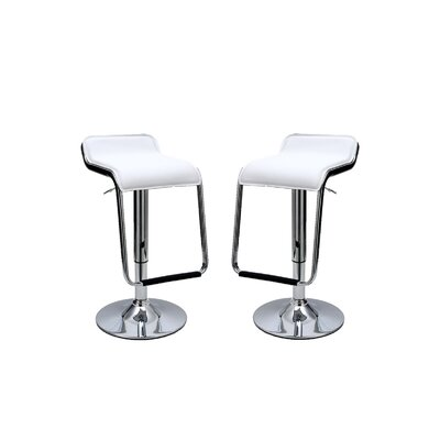 Crosby Adjustable Height Swivel Bar Stool with Cushion Upholstery: White