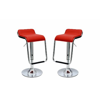 Crosby Adjustable Height Swivel Bar Stool with Cushion Upholstery: Red