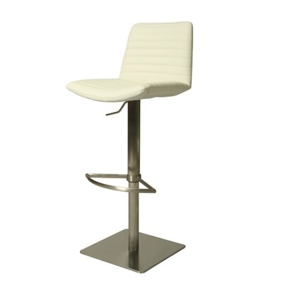 Aden Adjustable Height Swivel Bar Stool Upholstery: Ivory