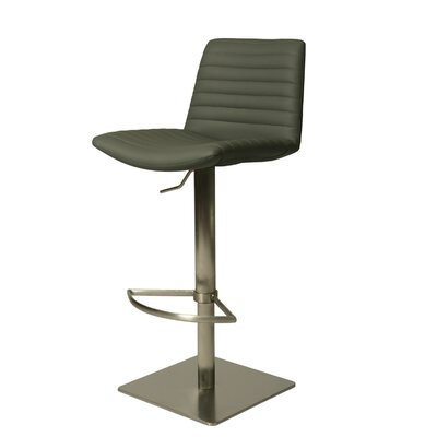 Aden Adjustable Height Swivel Bar Stool Upholstery: Gray