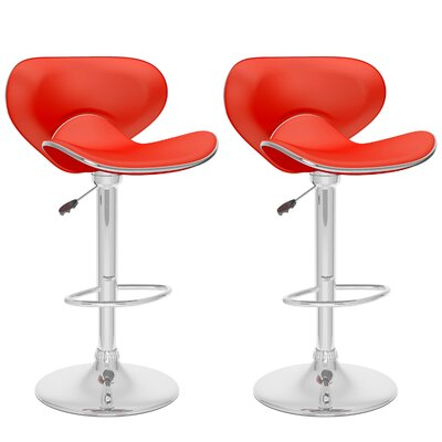 Barber Adjustable Height Swivel Bar Stool Upholstery: Red