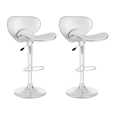 Barber Adjustable Height Swivel Bar Stool Upholstery: White