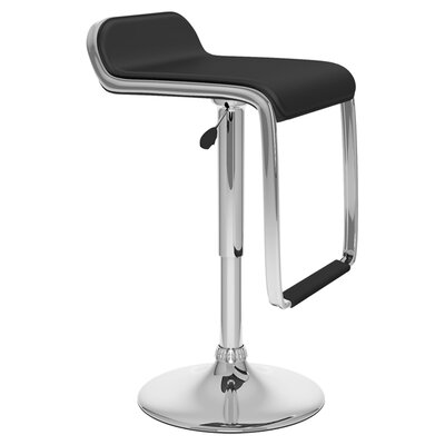 Emmett Adjustable Height Swivel Bar Stool Upholstery: Black