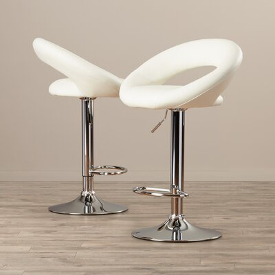Derrick Adjustable Height Swivel Bar Stool (Set of 2) Upholstery: White