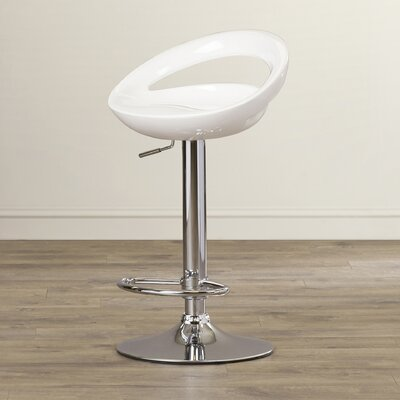Cedar Park Adjustable Height Bar Stool Upholstery: White
