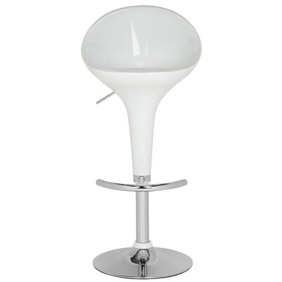 Collier Adjustable Height Swivel Bar Stool Finish: White