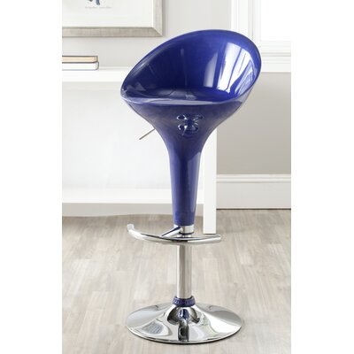 Anastasia Adjustable Height Swivel Bar Stool Finish: Navy Blue