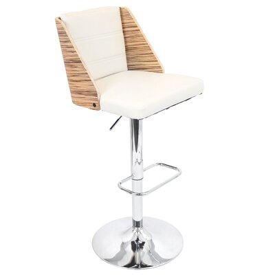 Kaitlynn Adjustable Height Swivel Bar Stool Upholstery: Zebra / Cream