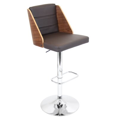 Kaitlynn Adjustable Height Swivel Bar Stool Upholstery: Walnut / Brown