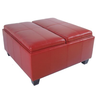 Cline Storage Ottoman Upholstery: Red