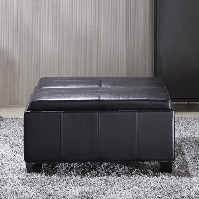 Cline Leather Storage Ottoman Upholstery: Black