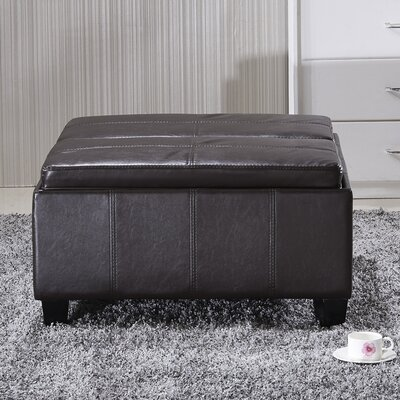 Cline Leather Storage Ottoman Upholstery: Espresso