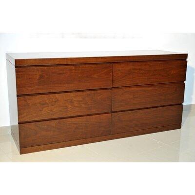 Salia 6 Drawers Double Dresser Color: Walnut Veneer