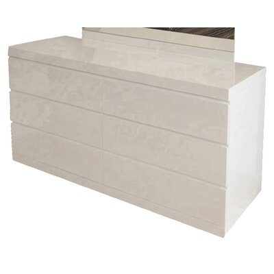 Kale 6 drawers Double Dresser Finish: High Gloss White