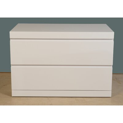 Salia 2 Drawer  Nightstand Color: High Gloss White