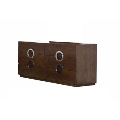 Salia 6 Drawer Double Dresser Color: Walnut Veneer